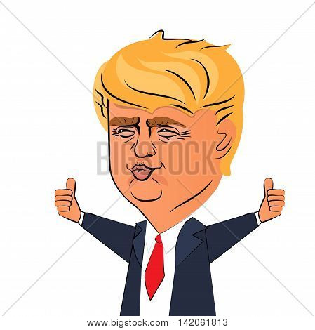 August 10 2016: Character portrait of Donald Trump thumbs up giving a speech on white background. Positive caricature of a prominent politician who is running for President.