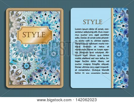 Congratulatory Card And Invitation Card With Mandala Design In Vintage Oriental Style. Flyer With Ab
