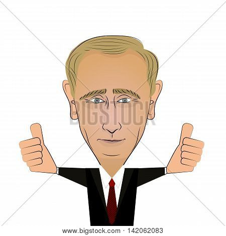 August 10 2016: Russian President Vladimir Putin positive cartoon character black suit with thumbs up. Portrait on white background.