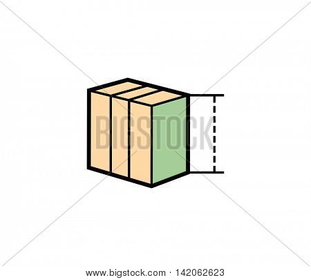 Size of box parcel delivery icon. Vector illustration of parcel box