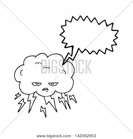 freehand drawn speech bubble cartoon thundercloud