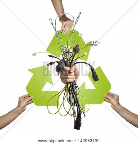 Electronic waste recycling- studio shot of numerous different kinds of cables isolated on white background