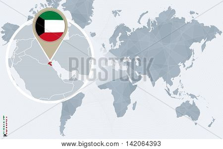 Abstract Blue World Map With Magnified Kuwait.