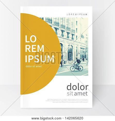 Modern Minimalistic White & yellow cover Brochure design. Flyer, booklet, annual report cover template.  vector-stock illustration cityscape duotone