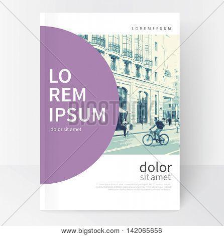 Modern Minimalistic White & violet cover Brochure design. Flyer, booklet, annual report cover template.  vector-stock illustration cityscape duotone