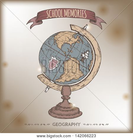 Color antique globe hand drawn sketch placed on old paper background. School memories collection. Great for school, education, book shop, retro design.