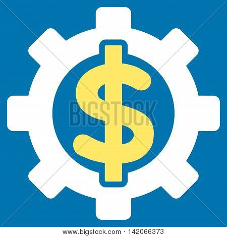 Financial Options vector icon. Financial Options icon symbol. Financial Options icon image. Financial Options icon picture. Financial Options pictogram. Flat yellow and white financial options icon.