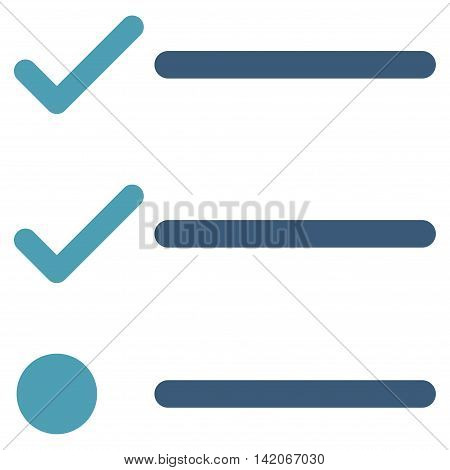 Checklist vector icon. Checklist icon symbol. Checklist icon image. Checklist icon picture. Checklist pictogram. Flat cyan and blue checklist icon. Isolated checklist icon graphic.
