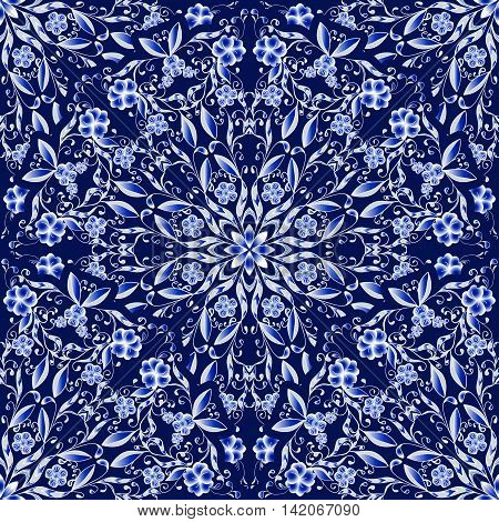 Seamless floral pattern of circular ornaments. Dark blue background in the style of Chinese painting on porcelain. Vector illustration.