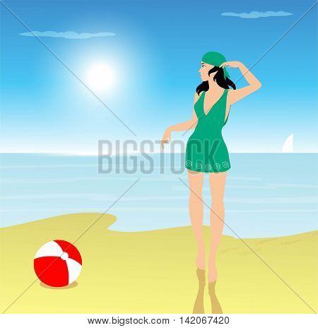 vector illustraion of girl on the beach