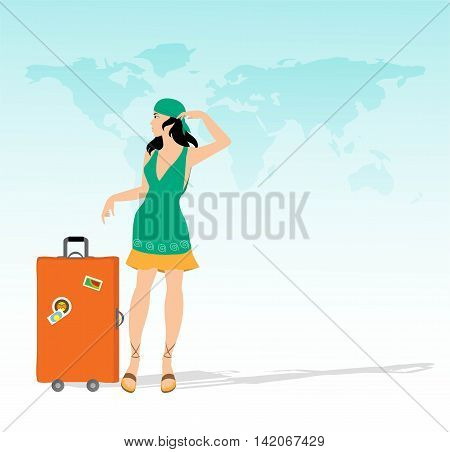 pretty girl with suitcase and map of the world in the background