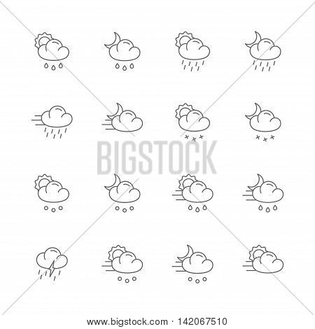 weather gray line icons set of 16