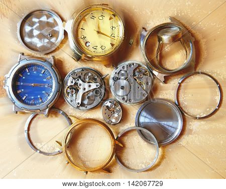 mechanisms and details of different hours on a diverse background photo for micro-stock