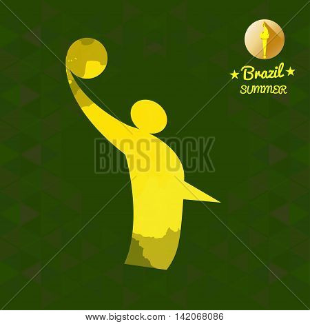 Brazil summer sport card with an yellow abstract volley player. Digital vector image