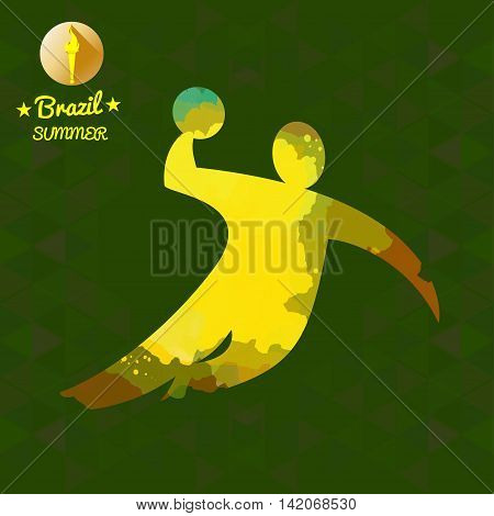 Brazil summer sport card with an yellow abstract volley player jumping. Digital vector image