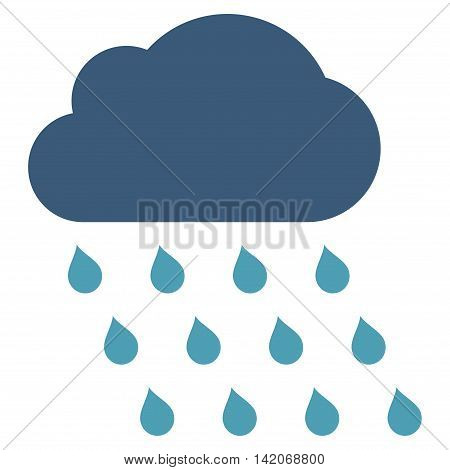 Rain Cloud vector icon. Rain Cloud icon symbol. Rain Cloud icon image. Rain Cloud icon picture. Rain Cloud pictogram. Flat cyan and blue rain cloud icon. Isolated rain cloud icon graphic.