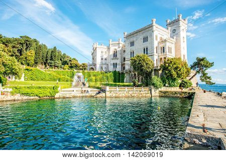 View on Miramare castle on the gulf of Trieste on northeastern Italy
