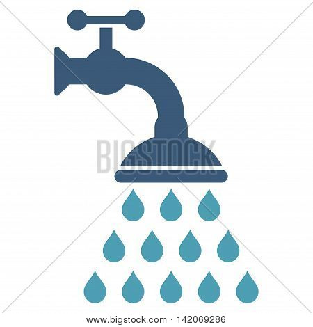 Shower Tap vector icon. Shower Tap icon symbol. Shower Tap icon image. Shower Tap icon picture. Shower Tap pictogram. Flat cyan and blue shower tap icon. Isolated shower tap icon graphic.
