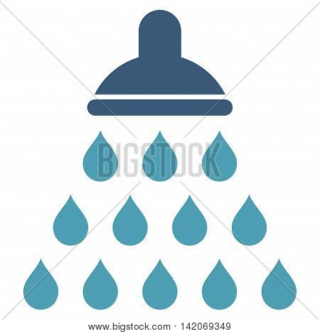Shower vector icon. Shower icon symbol. Shower icon image. Shower icon picture. Shower pictogram. Flat cyan and blue shower icon. Isolated shower icon graphic. Shower icon illustration.