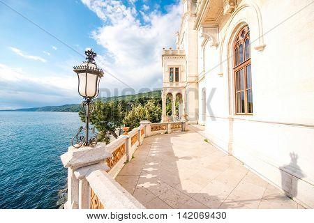 Miramare castle terrace on the adriatic coast in norteastern Italy poster