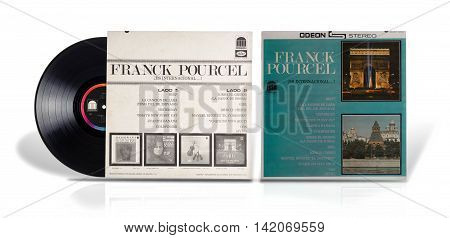 Rishon Le Zion Israel-July 23 2016: Old used vinyl album Franck Pourcel Es Internacional. This album is instrumental compilation from 12 popular songs for easy listening. The LP was manufactured in Mexico by Discos Capitol De Mexico S.A. Odeon SLOM 10047