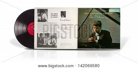 Rishon Le Zion Israel - July 23 2016: Old vinyl album My favorite Chopin. Classical piano album of American pianist Van Cliburn was printed in Mexico