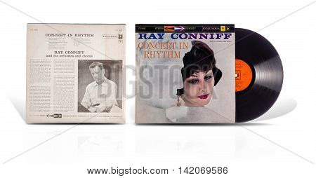 Rishon Le Zion Israel-July 26 2016: Old used vinyl album Ray Conniff And his Orchestra and Chorus-Concert In Rhythm. Big band jazz adaptations of classical music like Tchaikovsky Rachmaninoff and etc.