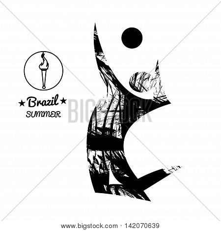 Brazil summer sport card with an abstract volley player jumping in black outlines. Digital vector image