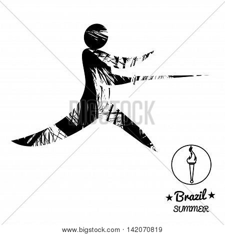 Brazil summer sport card with an abstract fencer in black outlines. Digital vector image