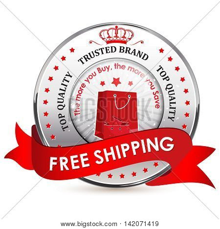 Free shipping, top quality, trusted brand - label / ribbon / icon with shopping bags