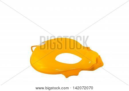 Isolated toilet seat for kids, child. Shaped as a duck.