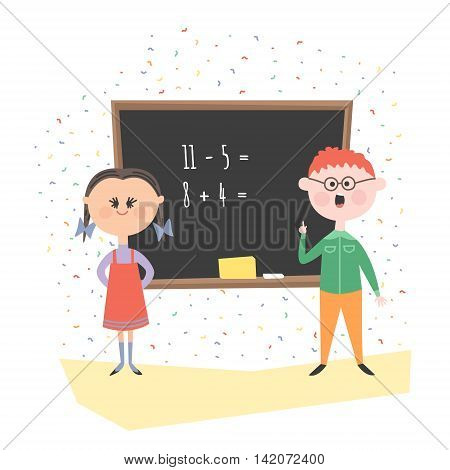 Children have a school Board decide examples. Boy and girl at the blackboard in class.