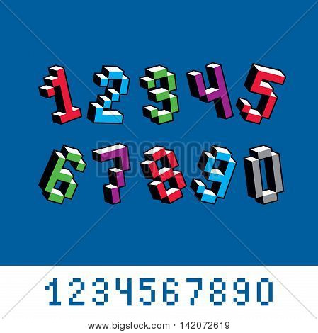 Cybernetic 3D Numbers, Pixel Art Vector Numeration. Pixel Design Elements, Contemporary Dotted Digit
