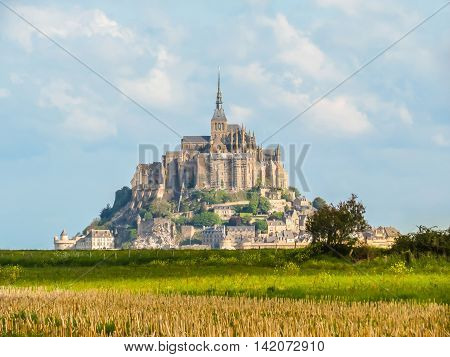 Mont Saint-Michel - tidal island town and abbey. Normandy, France
