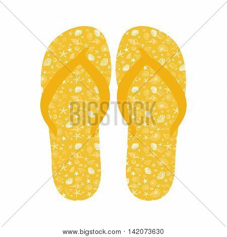 Flip flops, Slippers with seashell pattern on yellow background. Beach slippers summer symbol. Beach slippers for traveling design. vector