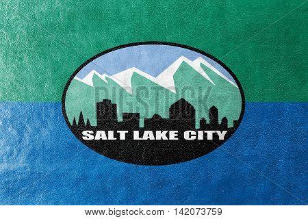 Flag Of Salt Lake City, Utah, Usa, Painted On Leather Texture