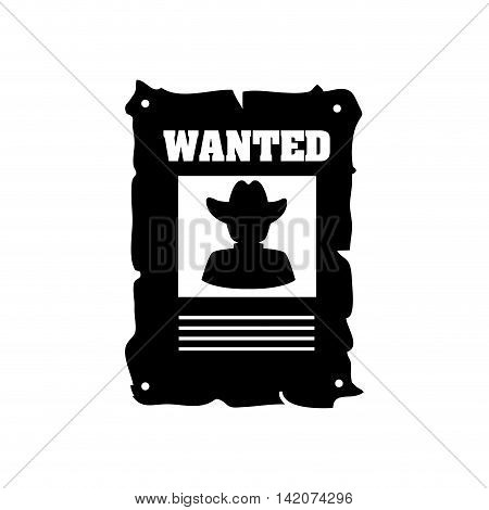 poster wanted desert cowboy western west hat old criminal rustic vector graphic isolated and flat illustration