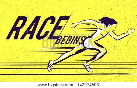 Illustration of female relay runner on track with stylish text Race Begins, Creative Poster, Banner or Flyer design for Sports concept.