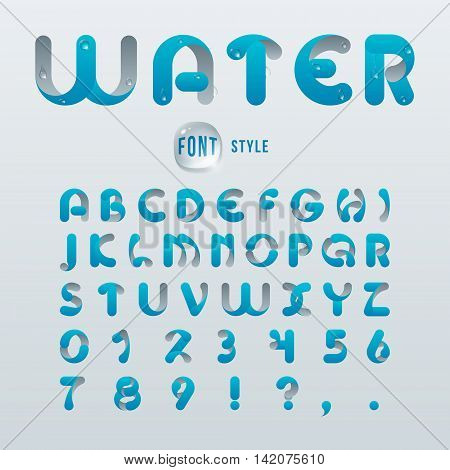 Vector latin alphabet stylization of drop water. Font style.