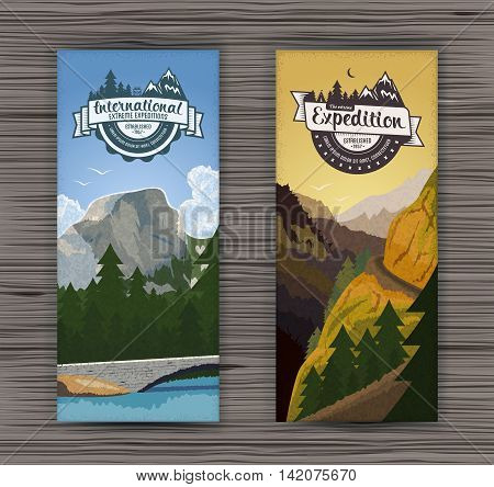 Tourism hiking holidays forest landscape with mountain peaks and two vertical banners. Set abstract isolated vector illustration