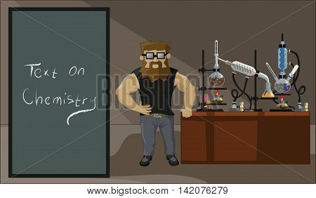 A Bearded Man On The Background Of The Laboratory