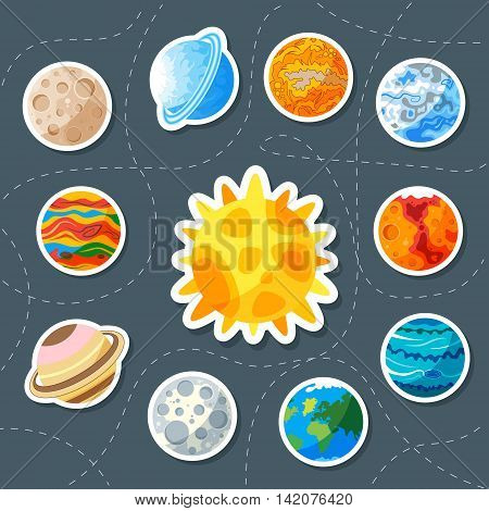 Cute planet. Sticker. saturn mars neptune earth venus mercury jupiter uranus pluto
