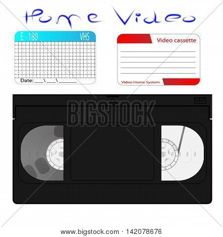 video cassette (VHS). set of stickers on the front. home video