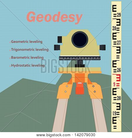 The geodetic device. Topography in construction. The background image of construction. The measuring device in construction.