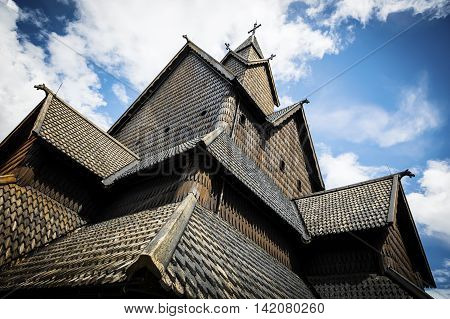 Detailes of the old Eidsborg stave church in Telemark, Norway