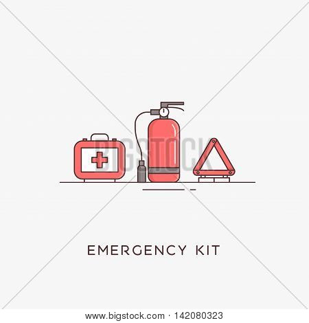 Emergency flat line icons set. Automobile items. Vector illustrations. The set of basic necessities in case of accidents