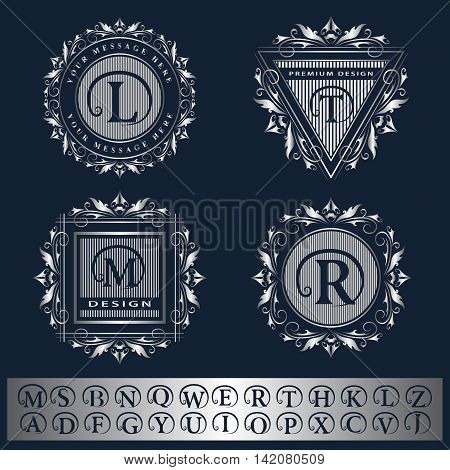 Vector illustration of Luxury Logo template flourishes calligraphic elegant ornament lines. Letter L T M R. Set of Business sign identity for Restaurant Royalty Boutique Hotel Heraldic Jewelry