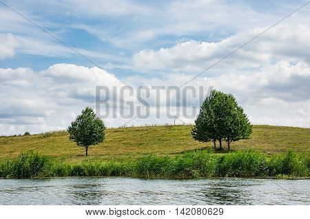 Landscape on the river Peene near Loitz (Germany).