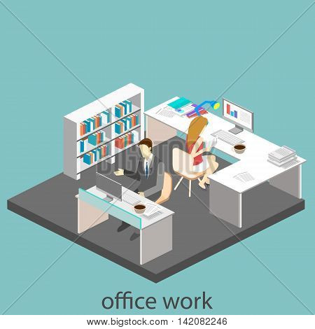 Flat 3D Isometric Abstract Office Floor Interior Departments Concept Vector. Office Life. Office Wor