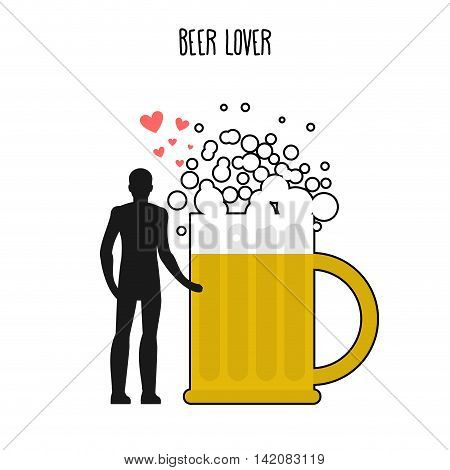 Lover Beer. Infatuated With Foamy Drink. Man And Beer Mug. Lovers Holding Hands. Romantic Illustrati